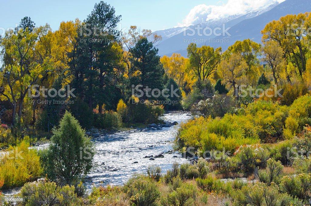 Arkansas River Autumn Landscape stock photo