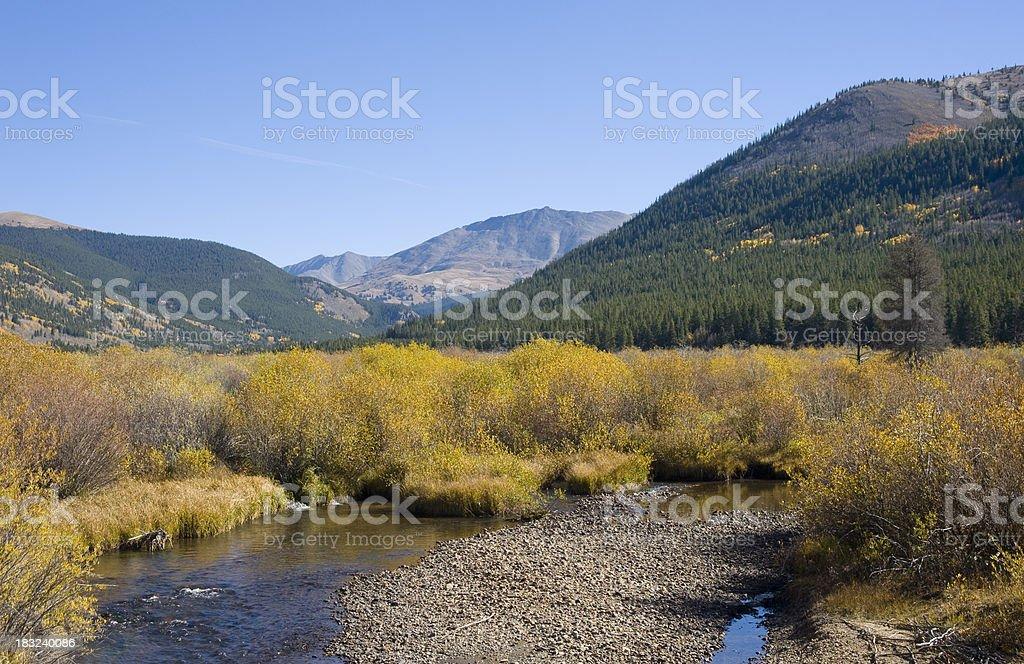 Arkansas River, Willows and Mountains in Autumn stock photo