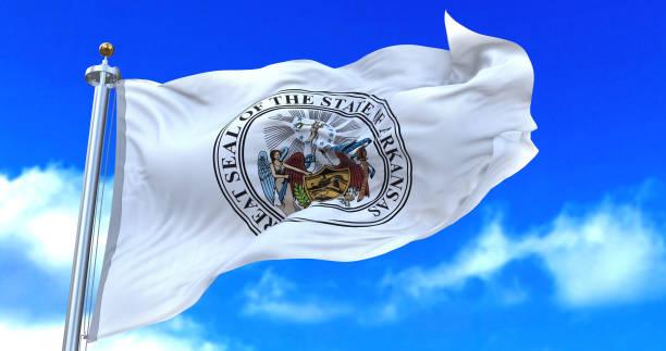 Arkansas seal flag. stock photo