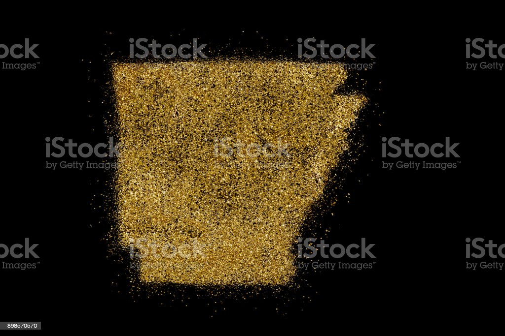 Arkansas shaped from golden glitter on black (series) stock photo