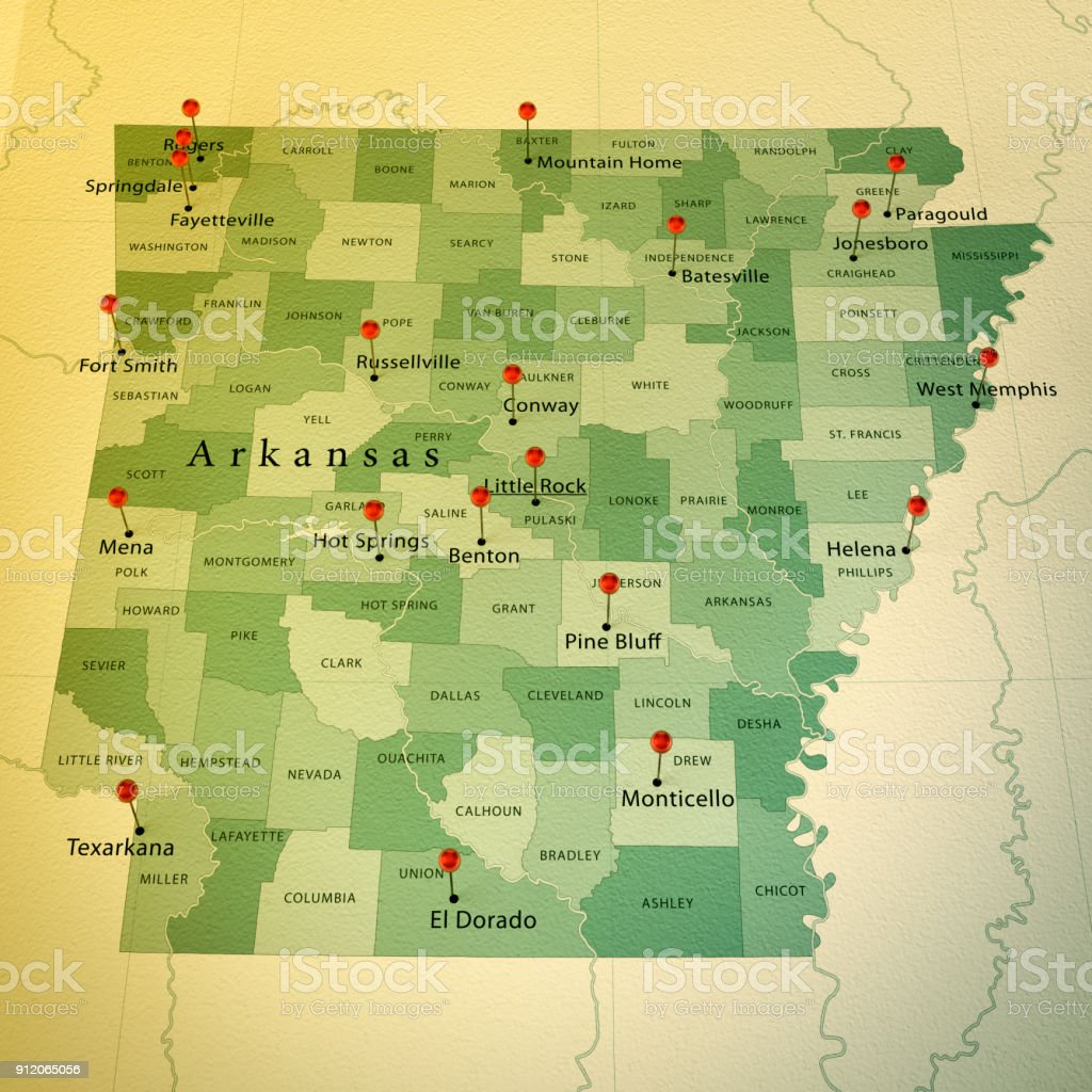 Arkansas State Map Square Cities Straight Pin Vintage Stock ...