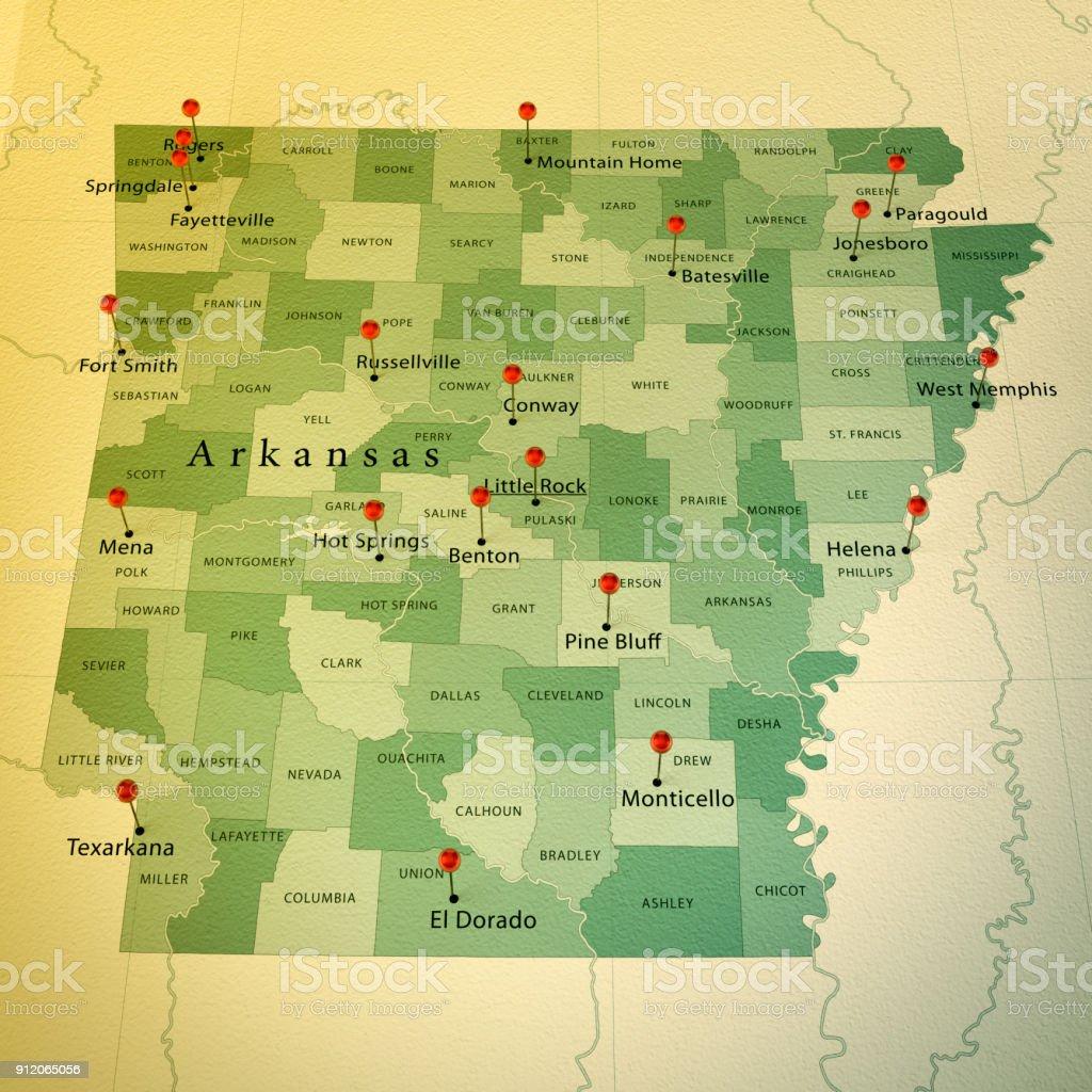 Arkansas State Karte Platz Städte Zylinderstift Vintage ...