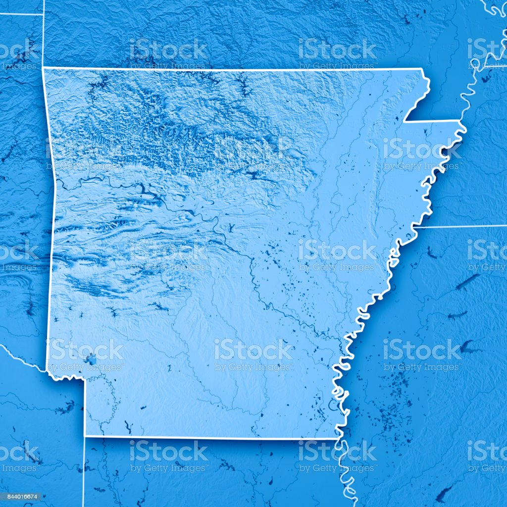 Arkansas State USA 3D Render Topographic Map Blue Border stock photo