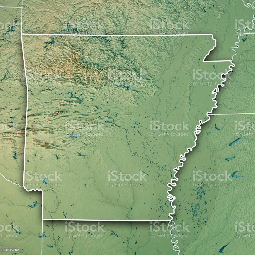 Arkansas State USA 3D Render Topographic Map Border stock photo