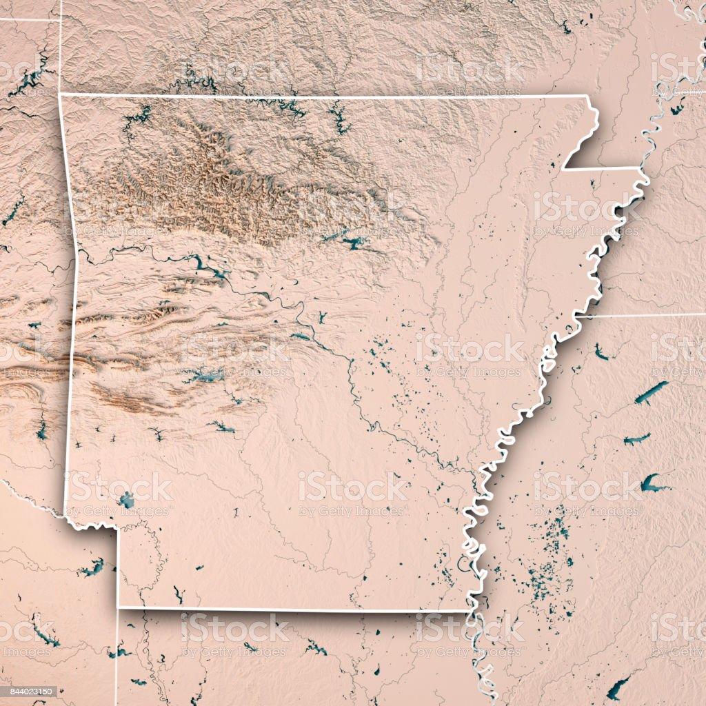 Arkansas State Usa 3d Render Topographic Map Neutral Border Stock ...