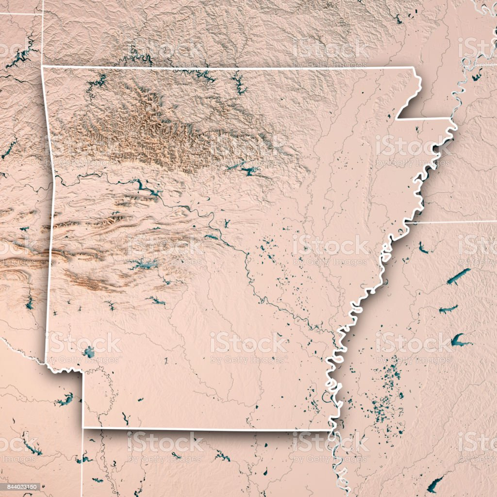 Arkansas State USA 3D Render Topographic Map Neutral Border stock photo