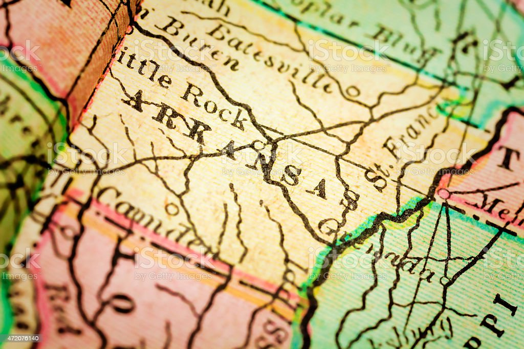 Arkansas State, USA on an Antique map stock photo