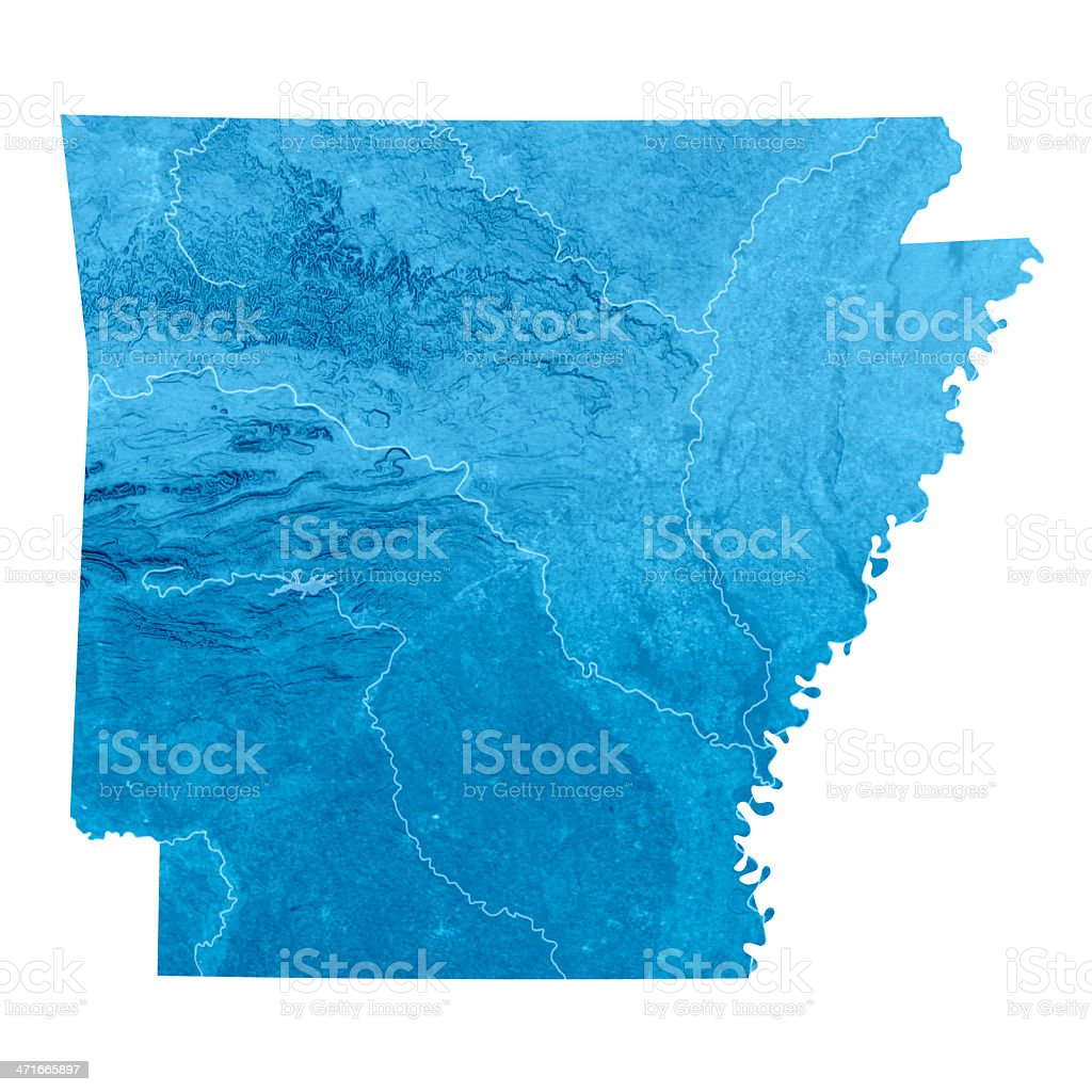 Arkansas Topographic Map Isolated stock photo
