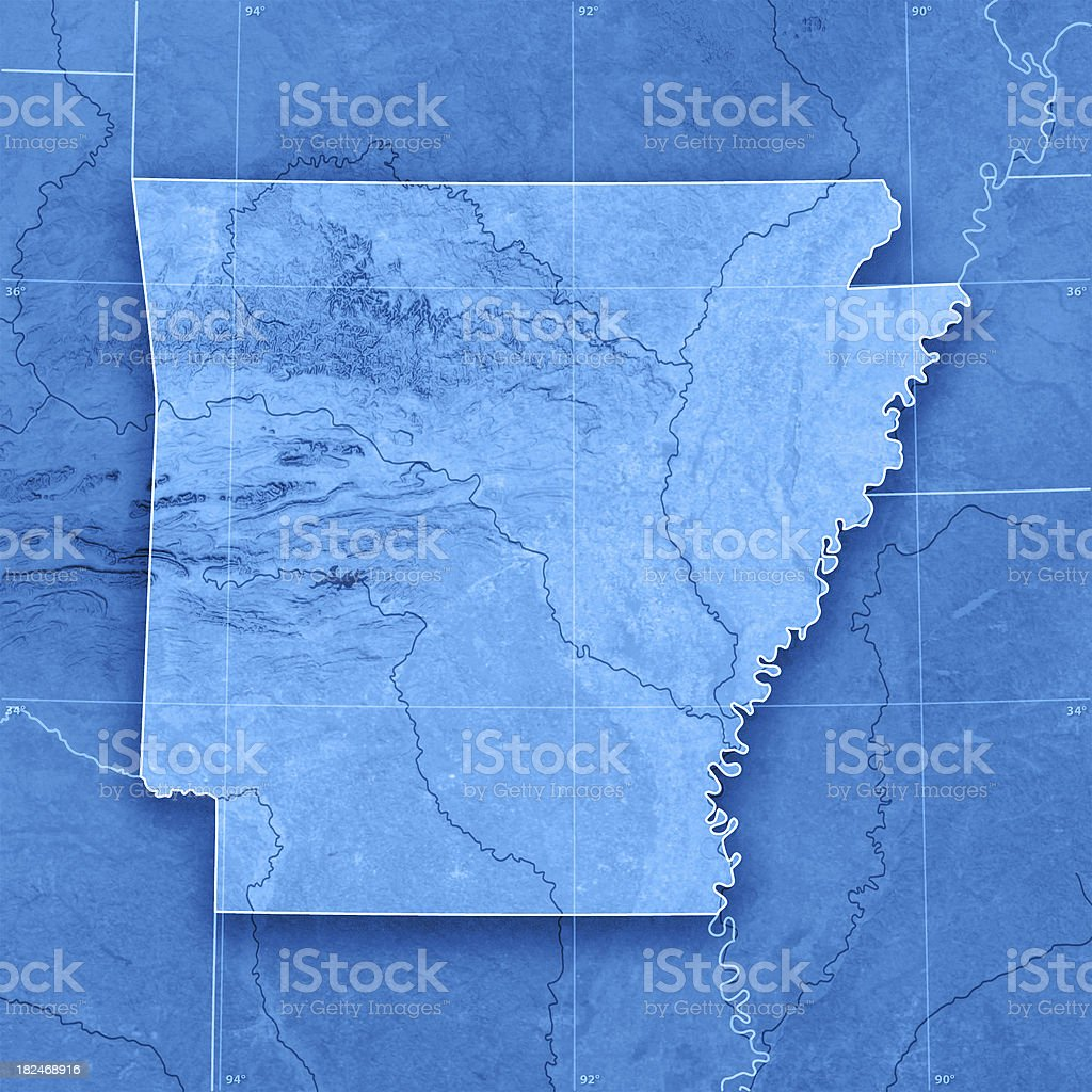 Arkansas Topographic Map stock photo