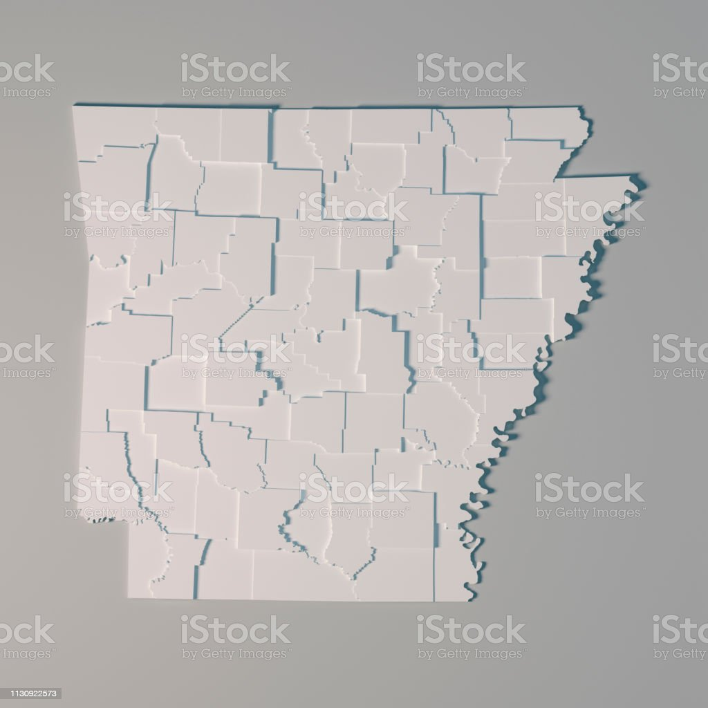 Arkansas Us State Map Administrative Divisions Counties 3d ...