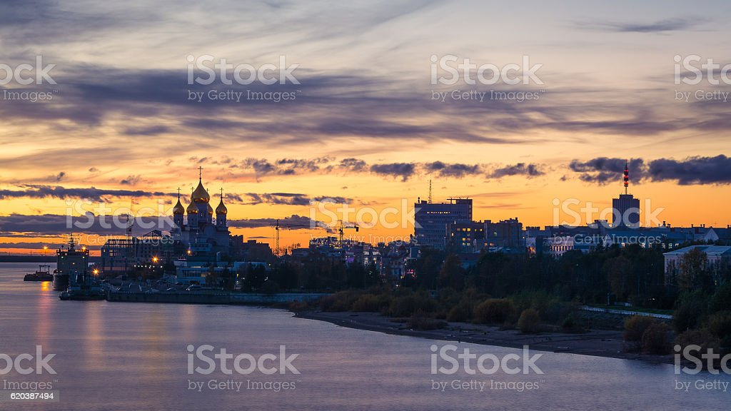 Arkhangelsk cityline from the river during sunset stock photo