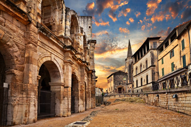 Arles, France: the ancient Roman Arena Arles, France: the ancient Roman Arena, a 1st-century amphitheatre, one of the best preserved of antiquity amphitheater stock pictures, royalty-free photos & images