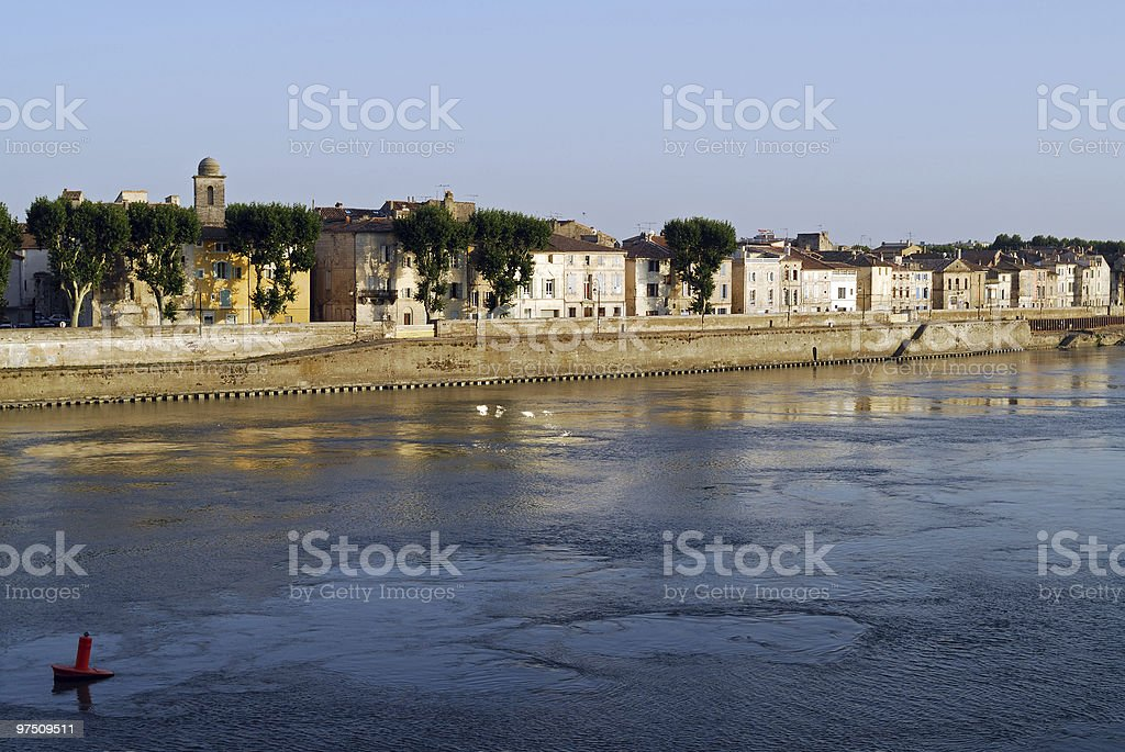 Arles (Provence), Old buildings and the Rhone river royalty-free stock photo