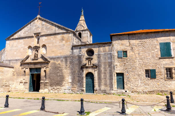 Arles. The old church of Notre Dame de la Major on a sunny day. stock photo