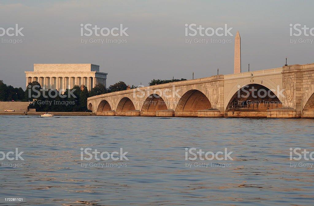 Arlington Bridge, Lincoln Memorial and National Monument, Washington DC stock photo