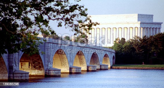 A view across the Potomac towards the Lincoln Memorial.