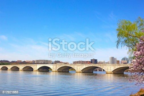 A view on Potomac River and Arlington Memorial Bridge in the morning.
