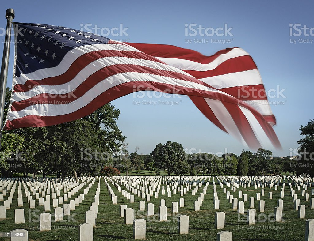 Arlington National Cemetery and US Flag stock photo