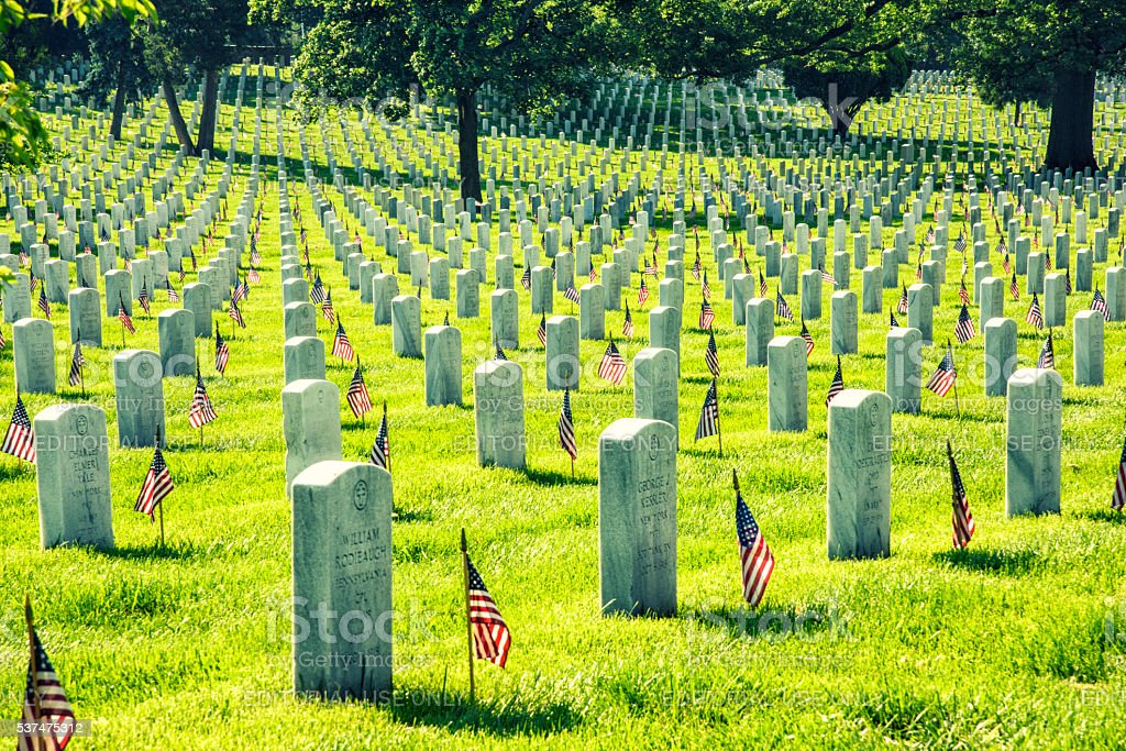 Arlington National Cemetery Memorial Day Flags stock photo