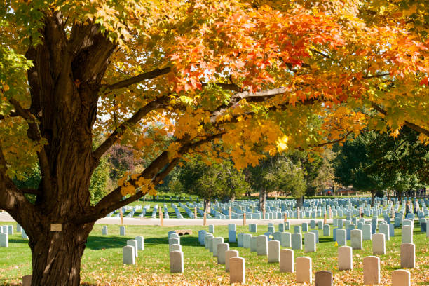 Arlington Arlington USA- October 26 2014; Leading lines of Arlington National Cemetery headstones in historic graveyard of national servicemen and heroes in Virginia across bridge from Lincoln Memorial. deferential stock pictures, royalty-free photos & images