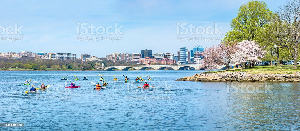 Arlington Virginia Skyline with Kayakers on the Potomac River stock photo