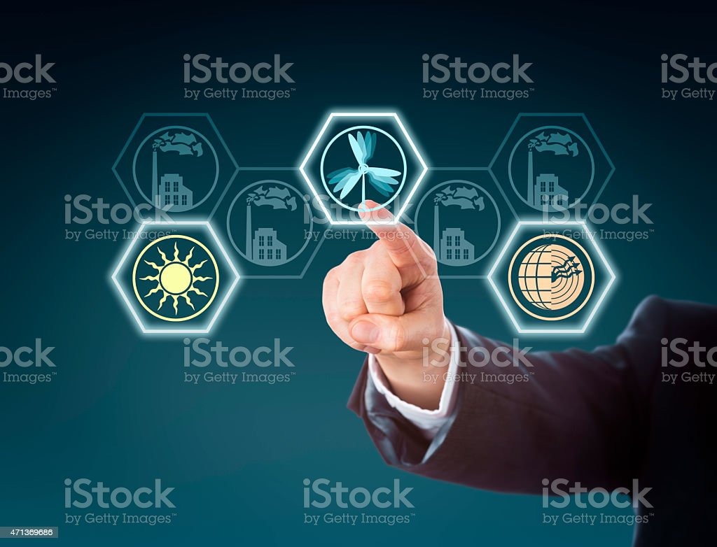 Arm Activating Wind Power At Center Of Energy Turn stock photo