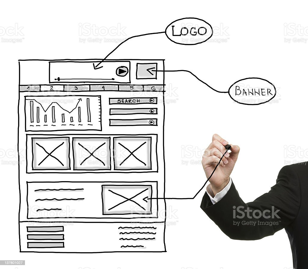Arm drawing Web design sketch on board royalty-free stock photo