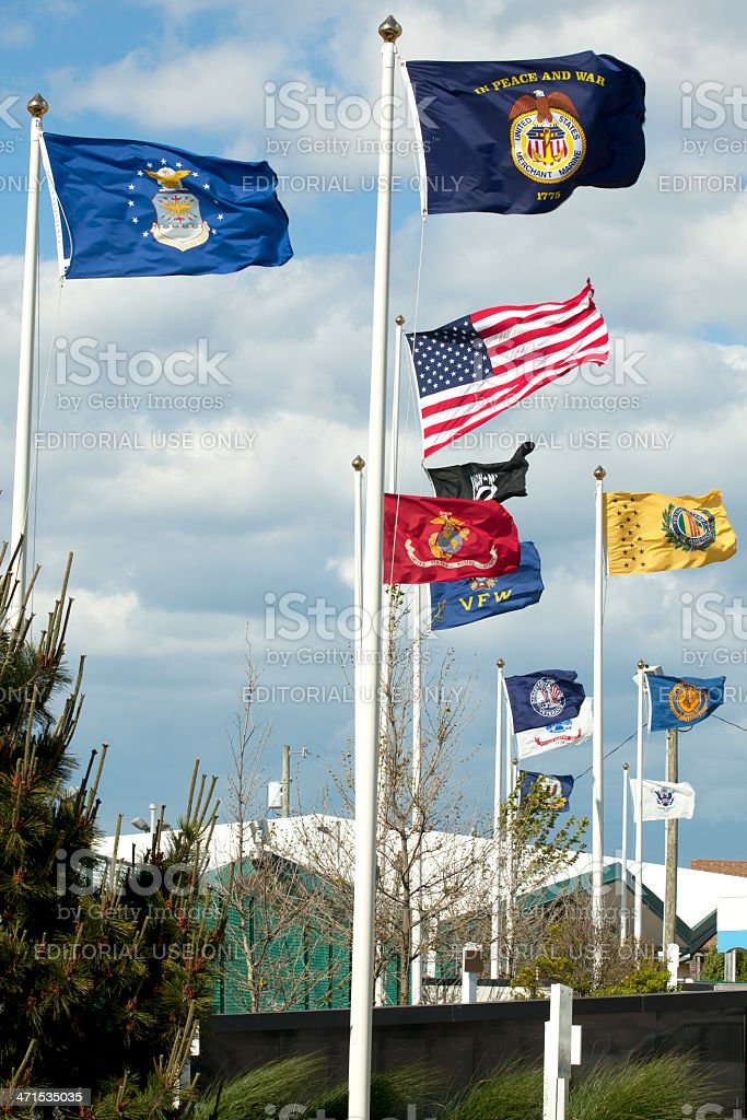 USA Arm Forces and Vetrains Flags stock photo