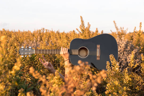 Arm holding a guitar in the grass stock photo