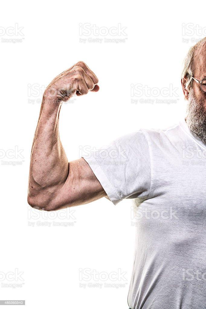 Arm Muskeln Flexing Weißen Tshirt Senior Erwachsener Mann Stock ...
