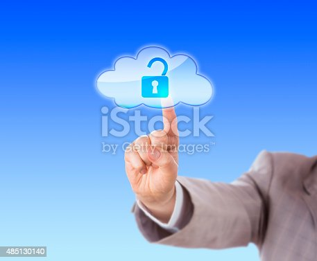 488497362istockphoto Arm Reaching To Touch Open Lock Icon In Cloud 485130140