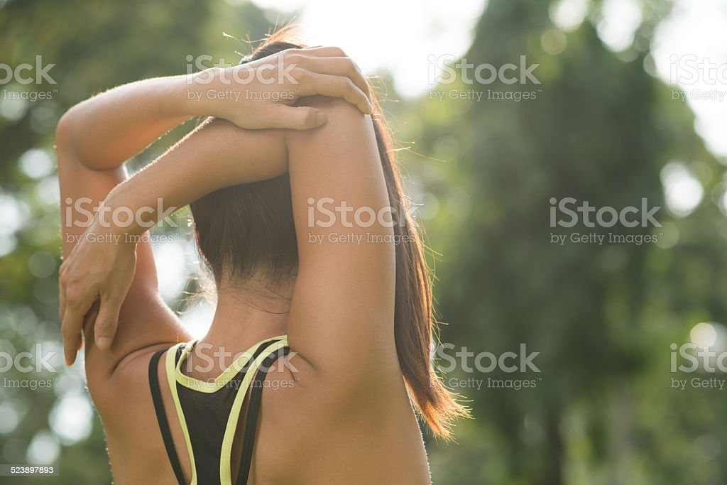 Arm stretch stock photo