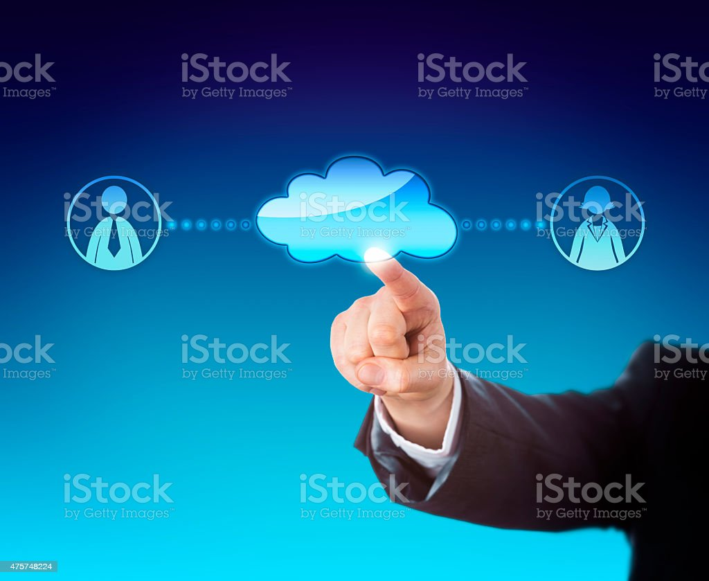 Arm Touching Void Cloud Linked To Office Workers stock photo
