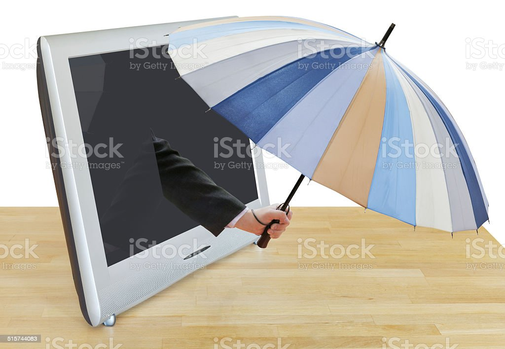 arm with striped umbrella leans out TV screen stock photo