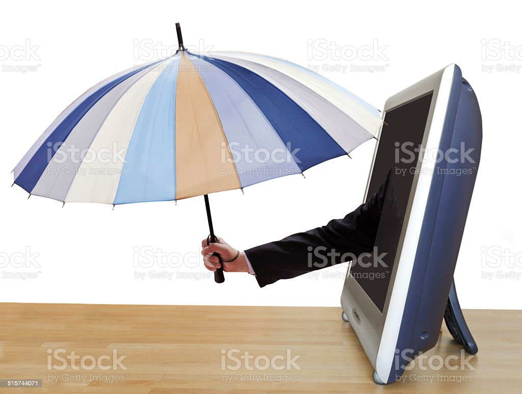 arm with umbrella leans out TV screen stock photo