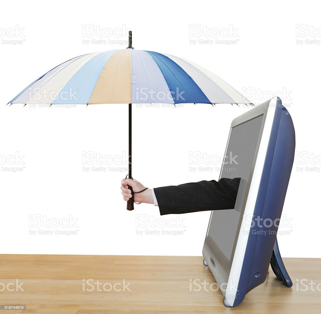 arm with umbrella pops out TV screen stock photo