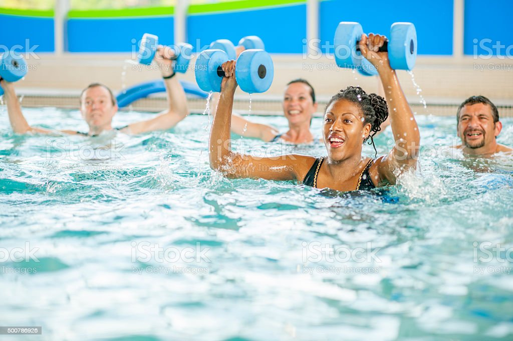 Arm Workout in the Pool stock photo
