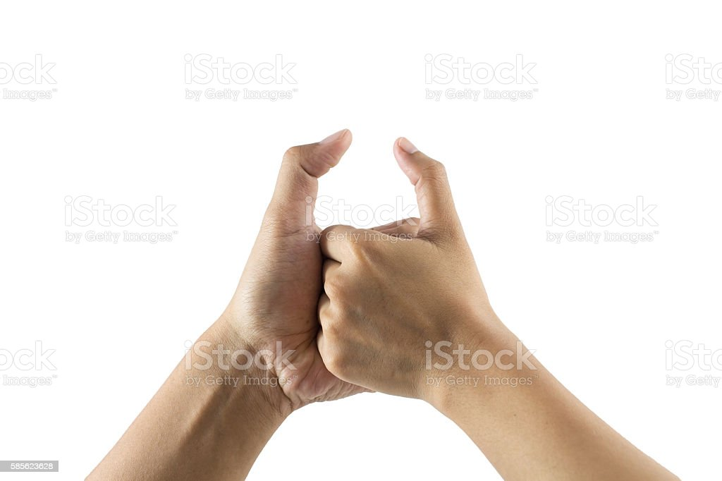 Arm wrestling between man and woman on white background stock photo
