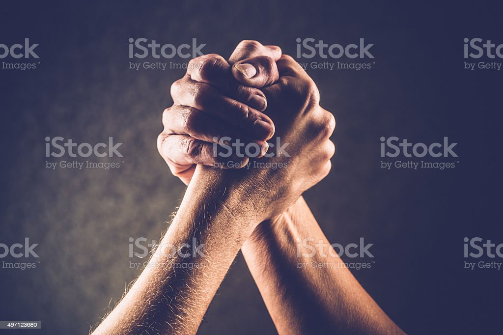 Arm Wrestling Hands, Hand Gestures, Copy Space stock photo