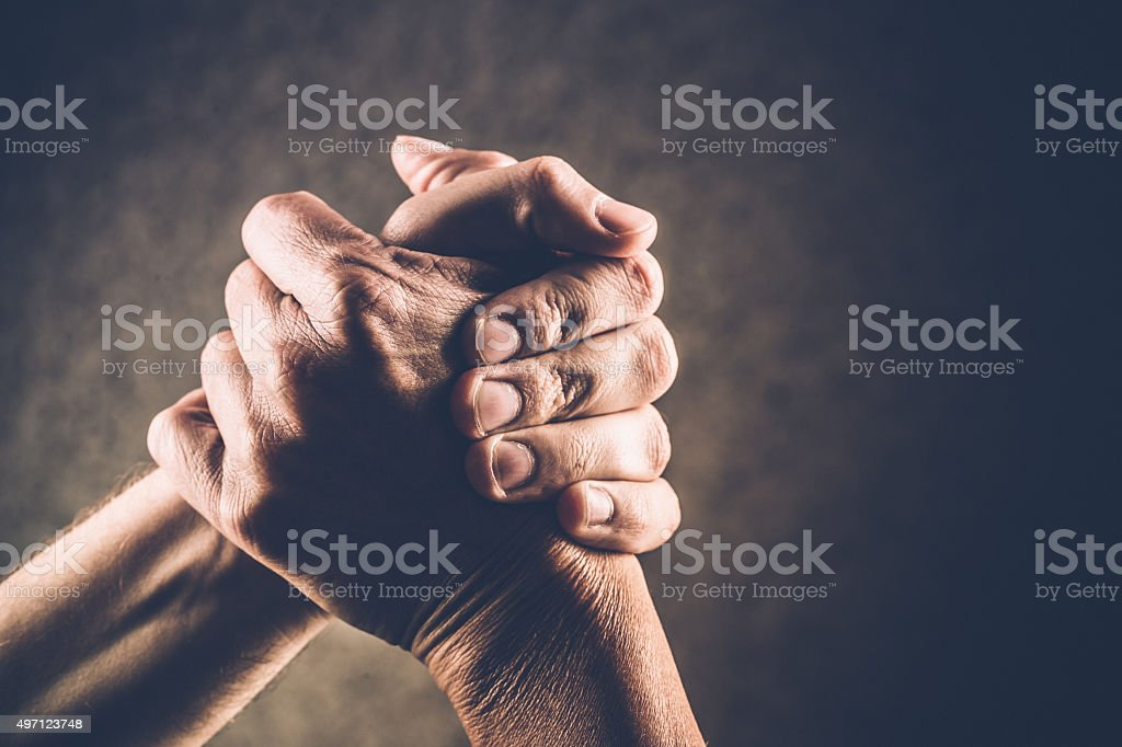 Arm Wrestling Hands, Hand Gestures stock photo
