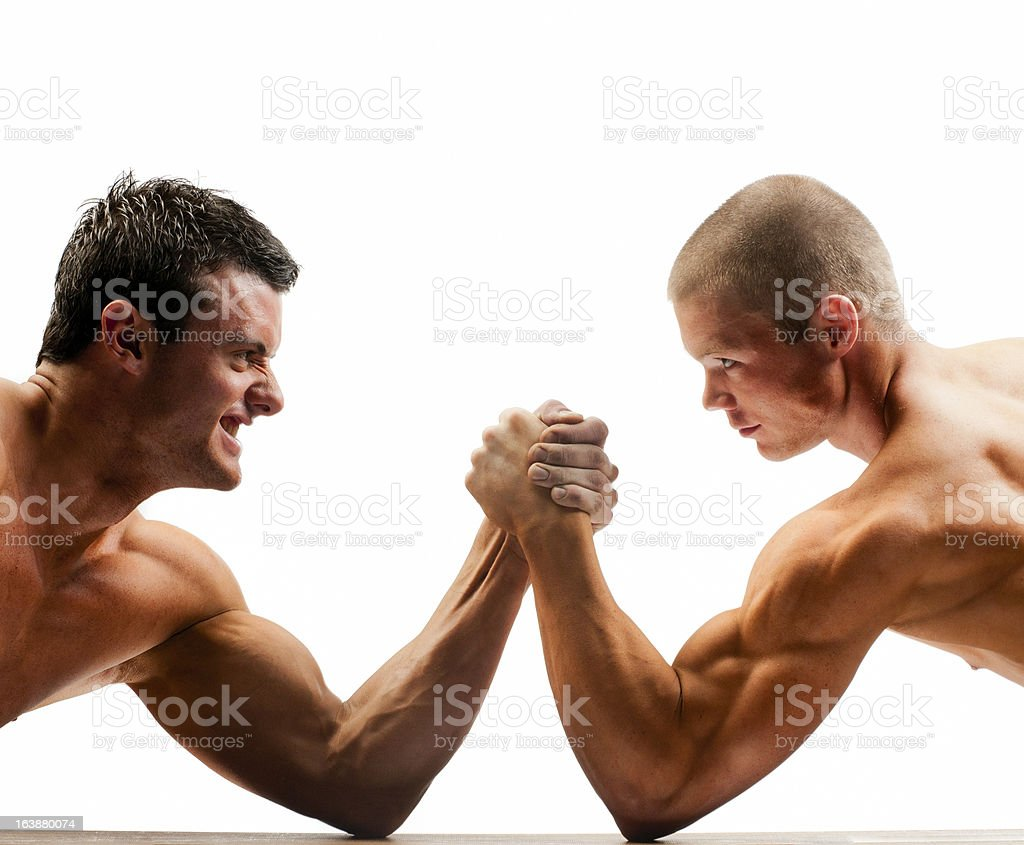 arm wrestling muscular build men stock photo