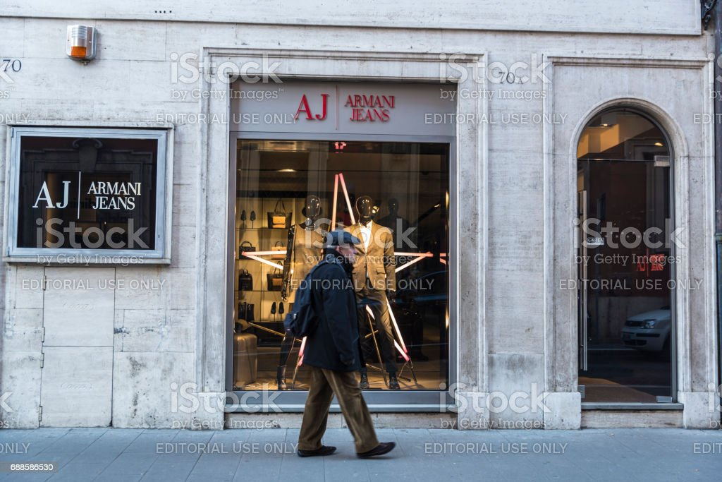 Armani Jeans shop in Rome, Italy stock photo