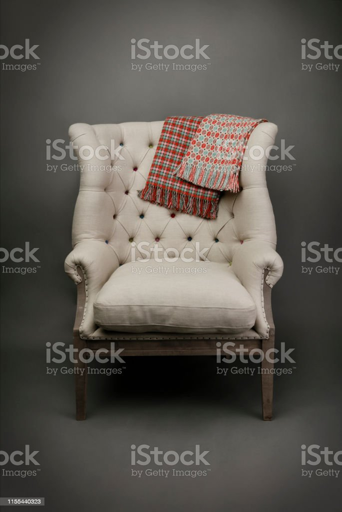 Strange Armchair And 2 Throws On Grey Background Stock Photo More Download Free Architecture Designs Scobabritishbridgeorg