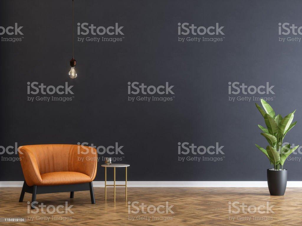Fauteuil en salontafel met zwarte muur - Royalty-free Achtergrond - Thema Stockfoto