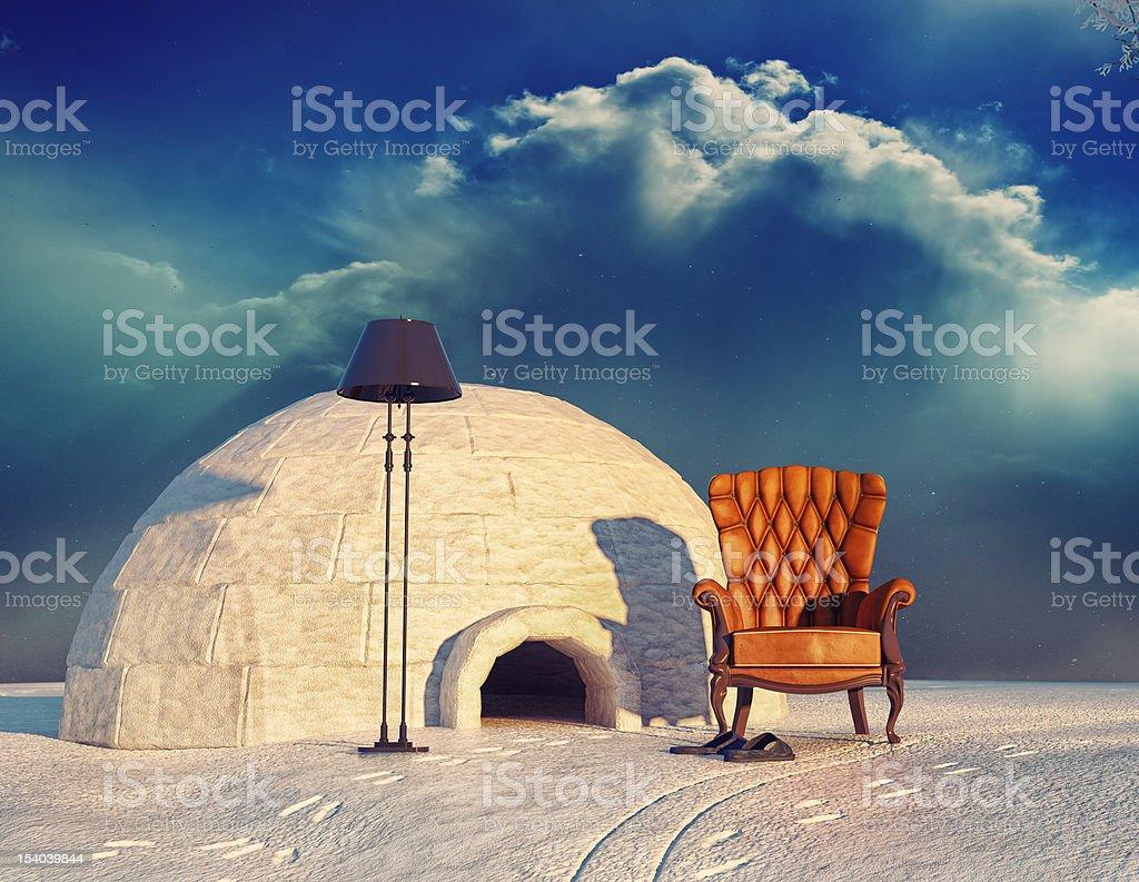 armchair and igloo stock photo