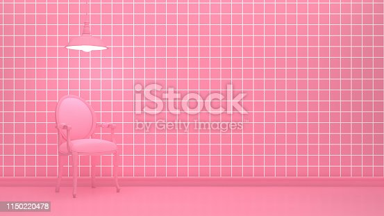 649067260istockphoto Armchair and lamp in living room with grid pattern pink color wall 1150220478