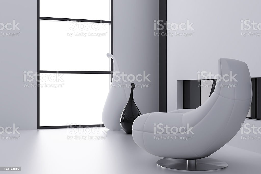 armchair and vases royalty-free stock photo