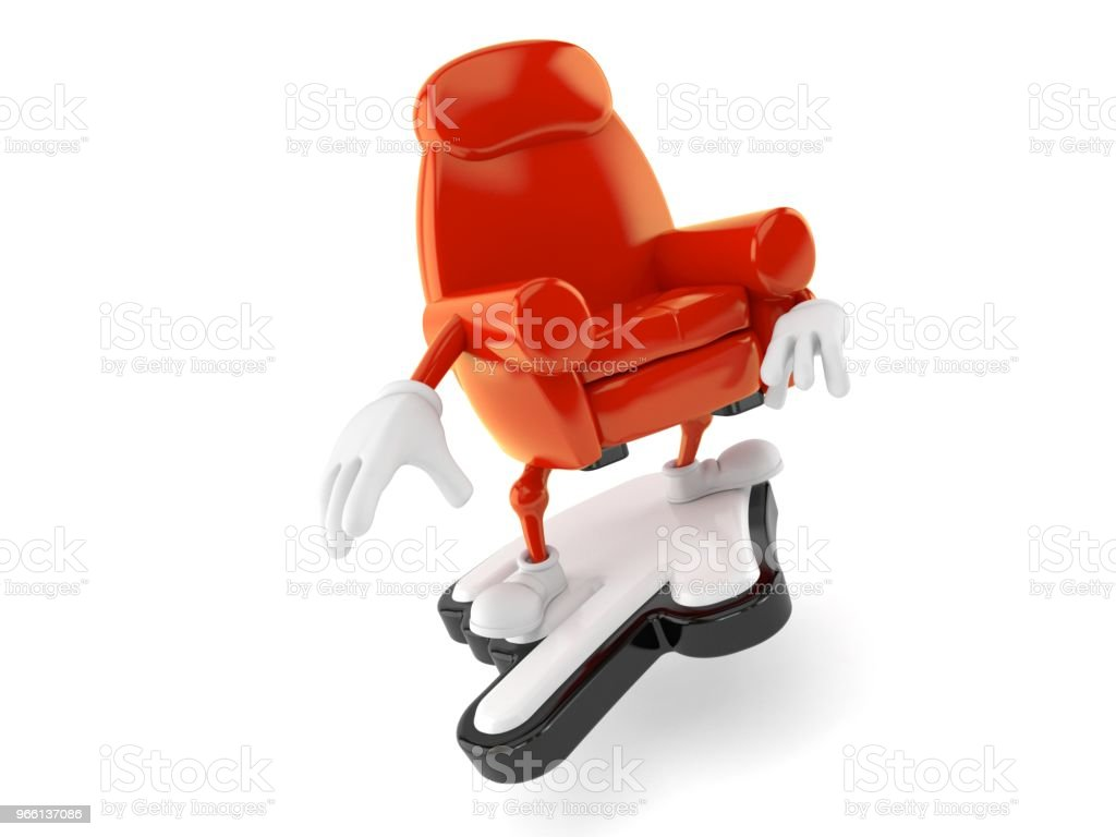 Armchair character surfing on web cursor - Royalty-free Armchair Stock Photo