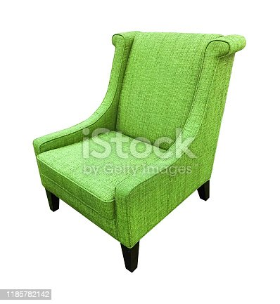 Armchair green color  isolated on white background.
