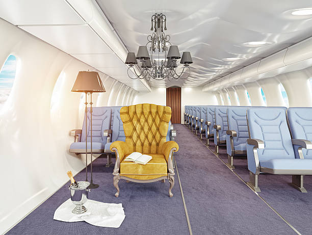 armchair in cabin luxury armchair in airplane cabin. 3d creativity concept first class stock pictures, royalty-free photos & images